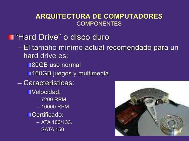 "<ul><li>"" Hard Drive"" o disco duro </li></ul><ul><ul><li>El tama ño  mínimo actual recomendado  para un hard drive es:  </..."