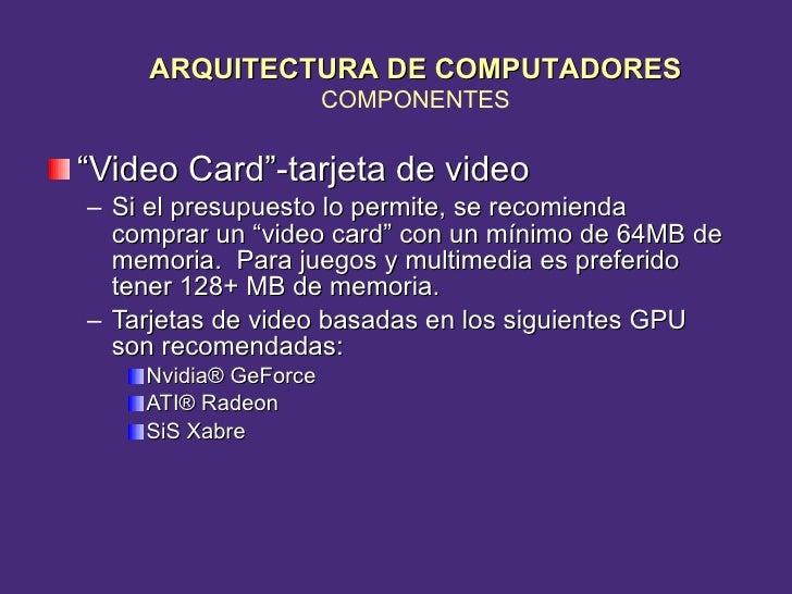 "<ul><li>"" Video Card""-tarjeta de video </li></ul><ul><ul><li>Si el presupuesto lo permite, se recomienda comprar un ""video..."