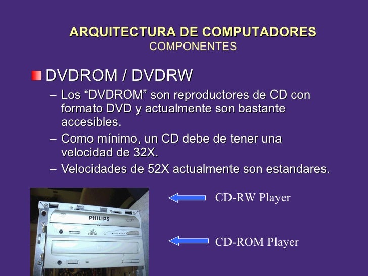 """<ul><li>DVDROM / DVDRW </li></ul><ul><ul><li>Los """"DVDROM"""" son reproductores de CD con formato DVD y actualmente son bastan..."""