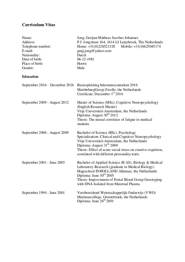 Curriculum Vitae (Gmjj Jong)