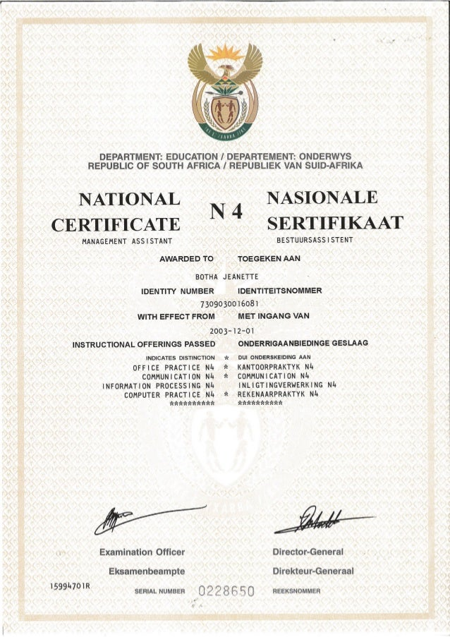 n4 certificate. Black Bedroom Furniture Sets. Home Design Ideas
