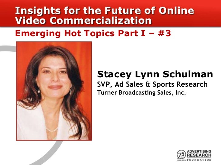 Insights for the Future of OnlineVideo CommercializationEmerging Hot Topics Part I – #3                Stacey Lynn Schulma...
