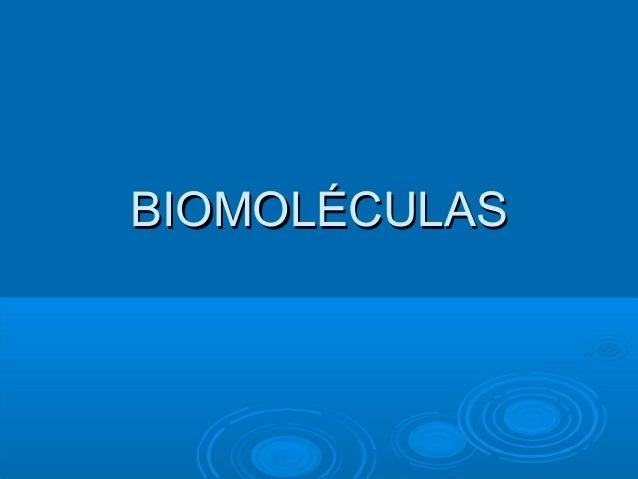 BIOMOLÉCULASBIOMOLÉCULAS