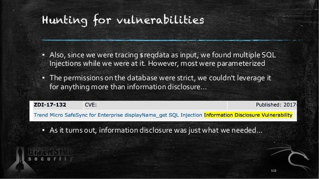 Hunting for vulnerabilities ▪ Also, since we were tracing $reqdata as input, we found multiple SQL Injections while we wer...