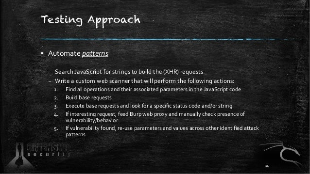 Testing Approach ▪ Automate patterns – Search JavaScript for strings to build the (XHR) requests – Write a custom web scan...