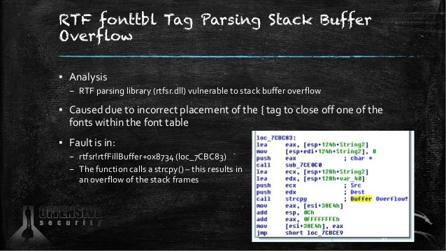RTF fonttbl Tag Parsing Stack Buffer Overflow ▪ Analysis – RTF parsing library (rtfsr.dll) vulnerable to stack buffer over...
