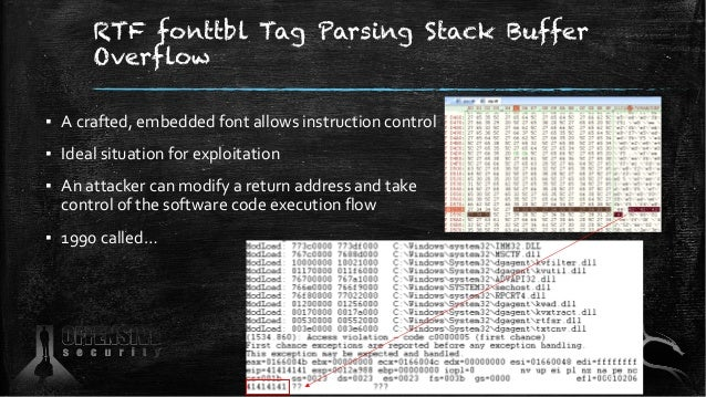 RTF fonttbl Tag Parsing Stack Buffer Overflow ▪ A crafted, embedded font allows instruction control ▪ Ideal situation for ...