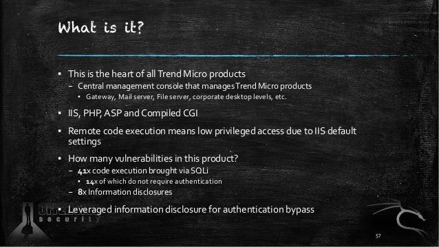 What is it? ▪ This is the heart of allTrend Micro products – Central management console that managesTrend Micro products ▪...
