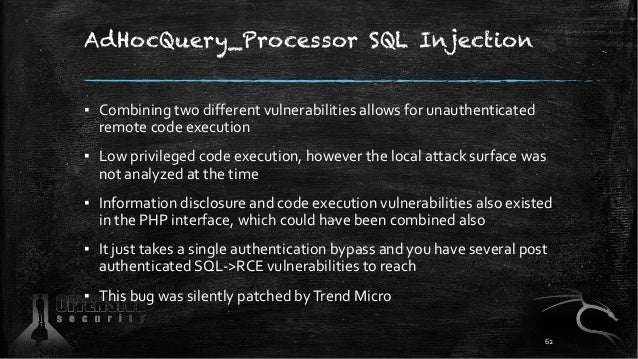 AdHocQuery_Processor SQL Injection ▪ Combining two different vulnerabilities allows for unauthenticated remote code execut...