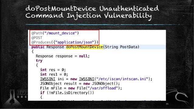 doPostMountDevice Unauthenticated Command Injection Vulnerability 71