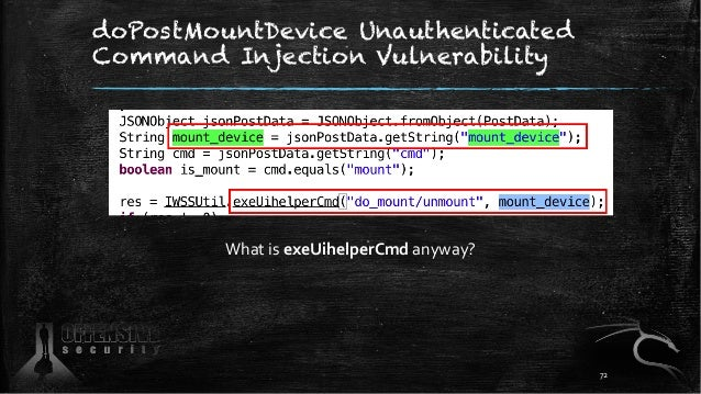 doPostMountDevice Unauthenticated Command Injection Vulnerability What is exeUihelperCmd anyway? 72
