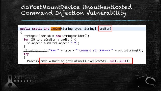 doPostMountDevice Unauthenticated Command Injection Vulnerability 74