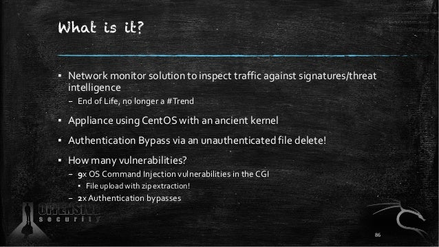 What is it? ▪ Network monitor solution to inspect traffic against signatures/threat intelligence – End of Life, no longer ...
