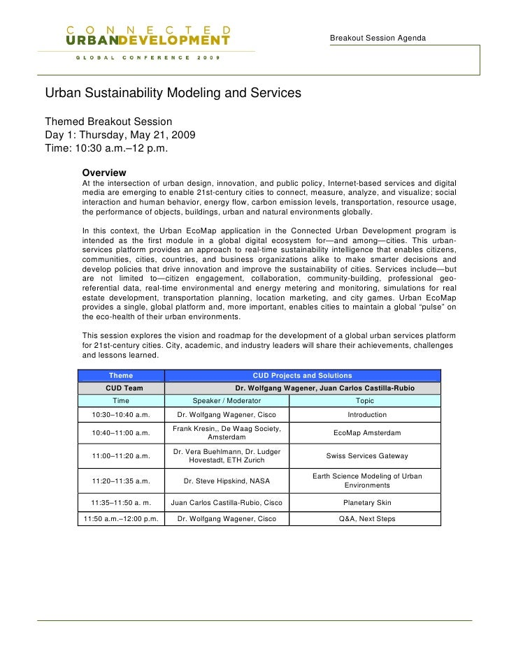 Breakout Session Agenda     Urban Sustainability Modeling and Services  Themed Breakout Session Day 1: Thursday, May 21, 2...