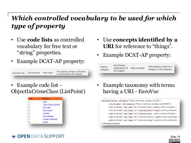 DATASUPPORTOPEN Which controlled vocabulary to be used for which type of property • Use code lists as controlled vocabular...