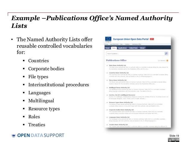 DATASUPPORTOPEN Example –Publications Office's Named Authority Lists • The Named Authority Lists offer reusable controlled...