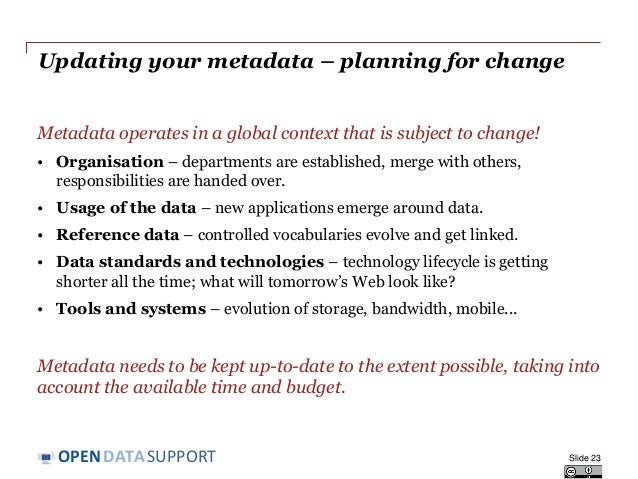 DATASUPPORTOPEN Updating your metadata – planning for change Metadata operates in a global context that is subject to chan...