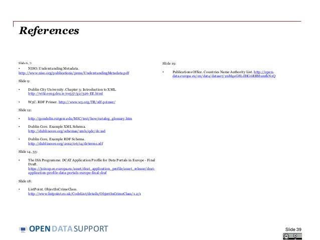 DATASUPPORTOPEN References Slide 6, 7: • NISO. Understanding Metadata. http://www.niso.org/publications/press/Understandin...