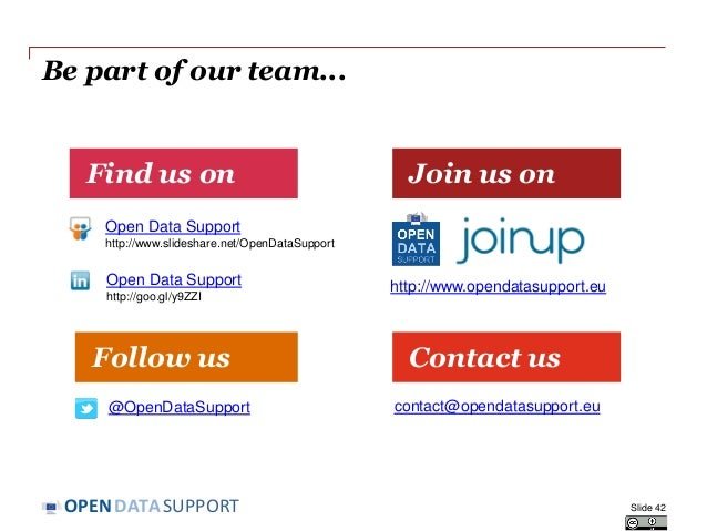 DATASUPPORTOPEN Be part of our team... Find us on Contact us Join us on Follow us Open Data Support http://www.slideshare....