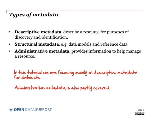 DATASUPPORTOPEN Types of metadata • Descriptive metadata, describe a resource for purposes of discovery and identification...