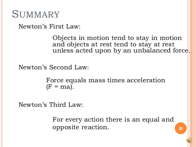 summary of newtons first law