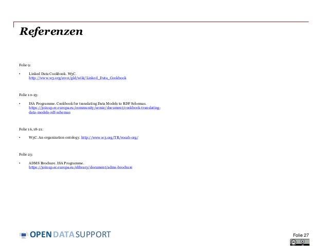 DATASUPPORTOPEN Referenzen Folie 9: • Linked Data Cookbook. W3C. http://www.w3.org/2011/gld/wiki/Linked_Data_Cookbook Foli...