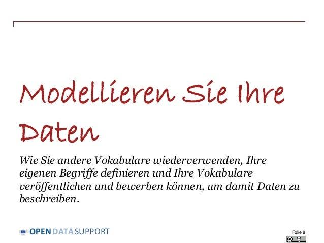 DATASUPPORTOPEN Modellieren Sie Ihre Daten Wie Sie andere Vokabulare wiederverwenden, Ihre eigenen Begriffe definieren und...