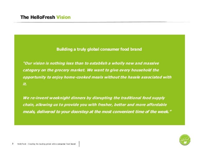 HelloFresh - Creating the leading global online consumer food brand2 The HelloFresh Vision Building a truly global consume...