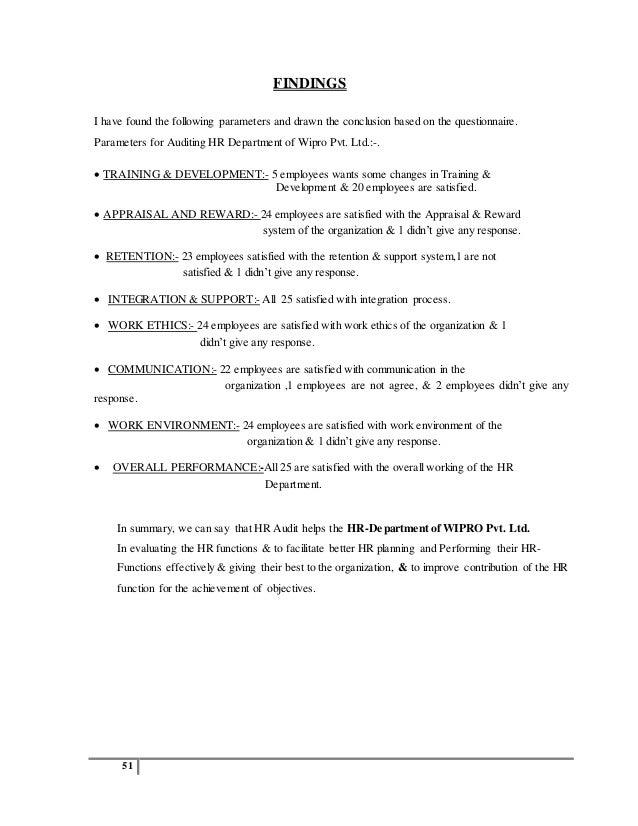 Hr audit in wipro - Homework Example