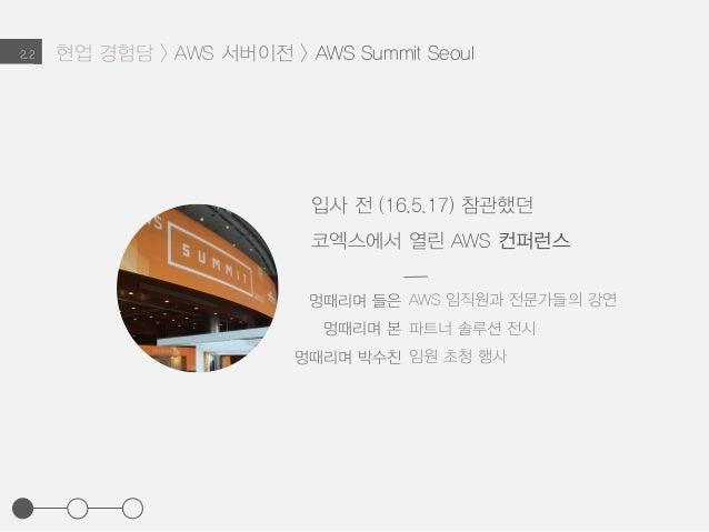 현업 경험담 > AWS 서버이전 > AWS Summit Seoul2.2 입사 전 (16.5.17) 참관했던 코엑스에서 열린 AWS 컨퍼런스 AWS 임직원과 전문가들의 강연 파트너 솔루션 전시 임원 초청 행사 멍때리며 들...
