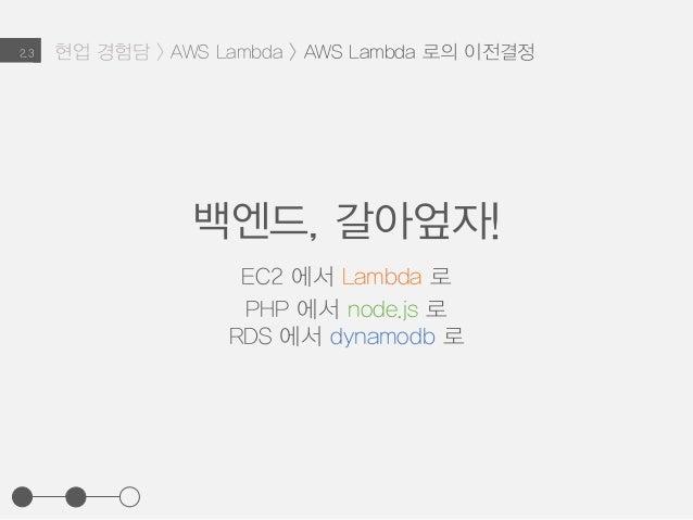 현업 경험담 > AWS Lambda > AWS Lambda 로의 이전결정2.3 백엔드, 갈아엎자! EC2 에서 Lambda 로 PHP 에서 node.js 로 RDS 에서 dynamodb 로
