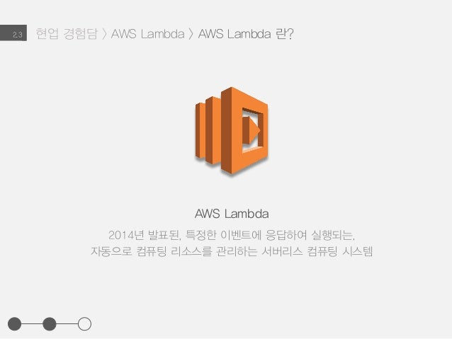 현업 경험담 > AWS Lambda > AWS Lambda 란?2.3 AWS Lambda 2014년 발표된, 특정한 이벤트에 응답하여 실행되는, 자동으로 컴퓨팅 리소스를 관리하는 서버리스 컴퓨팅 시스템