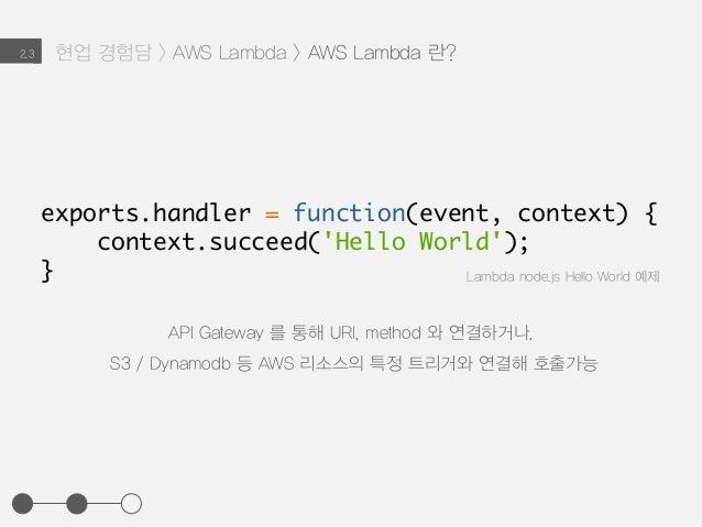 API Gateway 를 통해 URI, method 와 연결하거나, S3 / Dynamodb 등 AWS 리소스의 특정 트리거와 연결해 호출가능 Lambda node.js Hello World 예제 현업 경험담 > AWS...