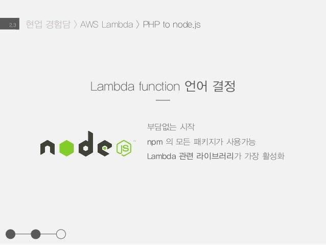 현업 경험담 > AWS Lambda > PHP to node.js2.3 Lambda function 언어 결정 부담없는 시작 npm 의 모든 패키지가 사용가능 Lambda 관련 라이브러리가 가장 활성화