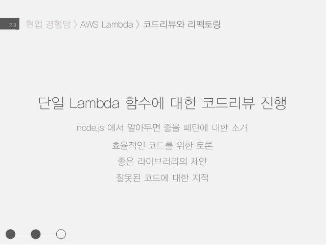 현업 경험담 > AWS Lambda > 코드리뷰와 리펙토링2.3 단일 Lambda 함수에 대한 코드리뷰 진행 node.js 에서 알아두면 좋을 패턴에 대한 소개 효율적인 코드를 위한 토론 좋은 라이브러리의 제안 잘못된 ...