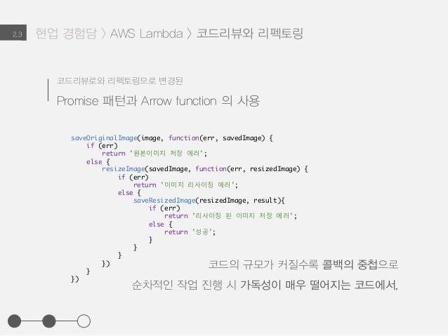 현업 경험담 > AWS Lambda > 코드리뷰와 리펙토링2.3 코드리뷰로와 리펙토링으로 변경된 Promise 패턴과 Arrow function 의 사용 saveOriginalImage(image, function(er...