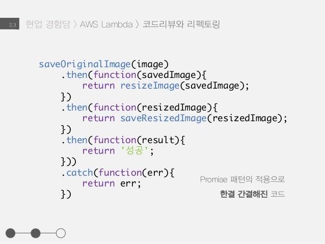 현업 경험담 > AWS Lambda > 코드리뷰와 리펙토링2.3 saveOriginalImage(image) .then(function(savedImage){ return resizeImage(savedImage); }...