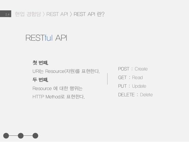 현업 경험담 > REST API > REST API 란?2.4 첫 번째, URI는 Resource(자원)를 표현한다. 두 번째, Resource 에 대한 행위는 HTTP Method로 표현한다. POST : Create...