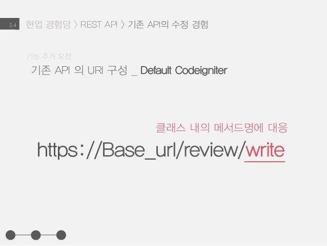 현업 경험담 > REST API > 기존 API의 수정 경험2.4 기존 API 의 URI 구성 _ Default Codeigniter 기능 추가 요청 https://Base_url/review/write 클래스 내의 메...