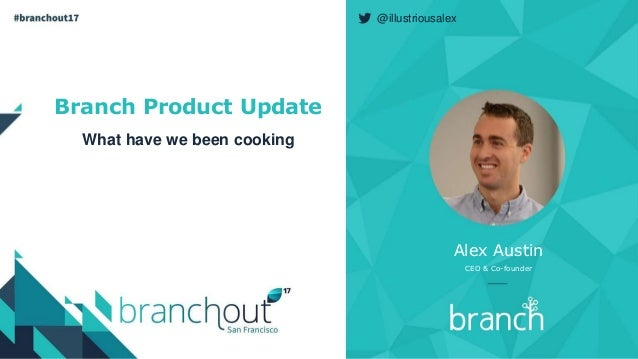 Branch Product Update What have we been cooking Alex Austin CEO & Co-founder @illustriousalex