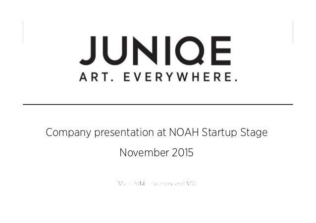 Company presentation at NOAH Startup Stage November 2015