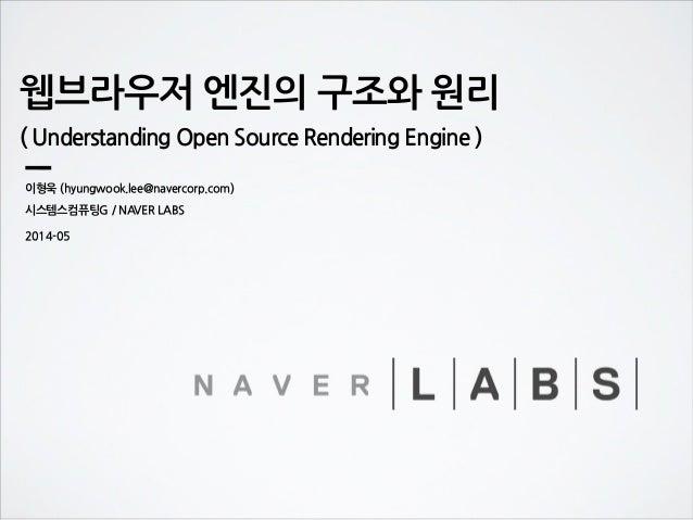 웹브라우저 엔진의 구조와 원리 ( Understanding Open Source Rendering Engine ) 이형욱 (hyungwook.lee@navercorp.com) 시스템스컴퓨팅G / NAVER LABS 20...