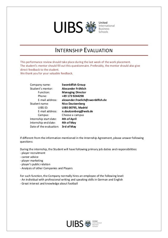 INTERNSHIP  EVALUATION   This  performance  review  should  take  place  d...