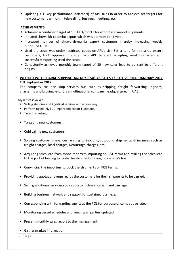 stunning resume for freight forwarding company images simple