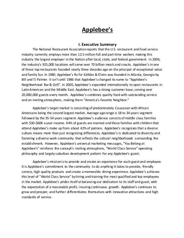 Writing Sample Applebees