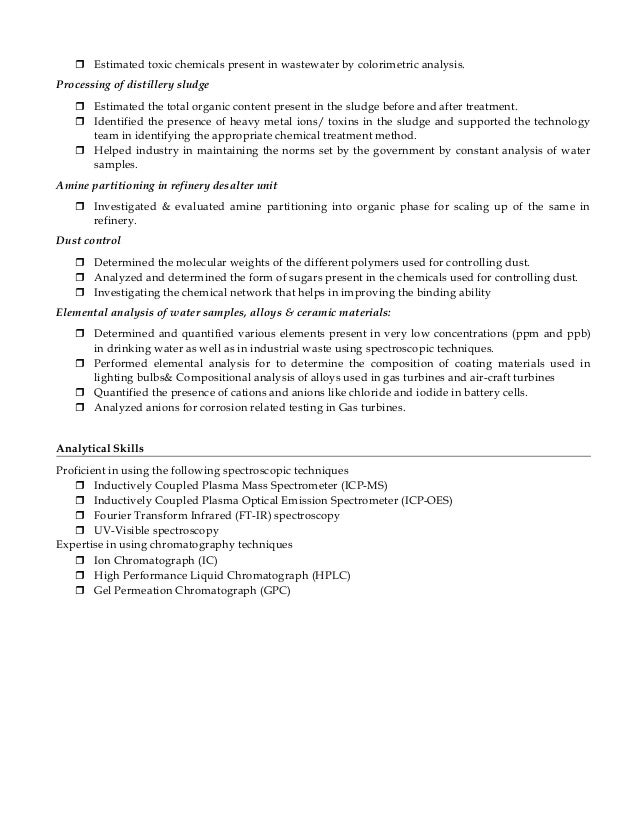 Chemistry Faculty Resume