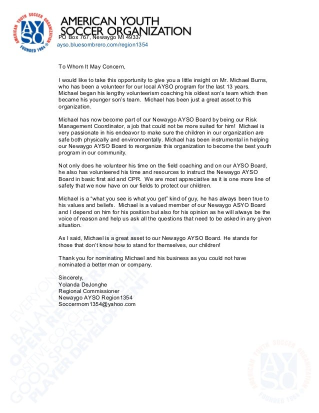 Reference Letter community AYSO – Basic Reference Letter