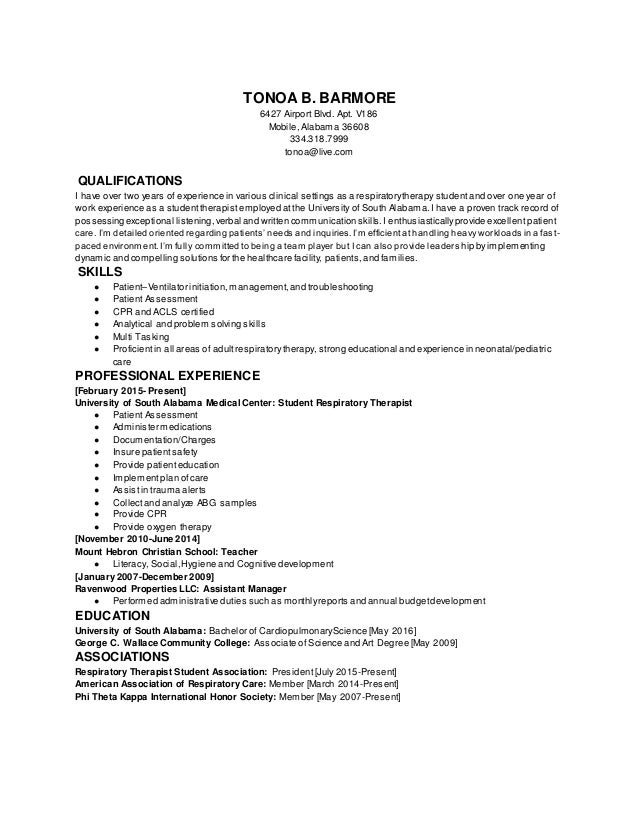 Sincerely, Tonoa Barmore Enclosure; 2.  Resume For Respiratory Therapist