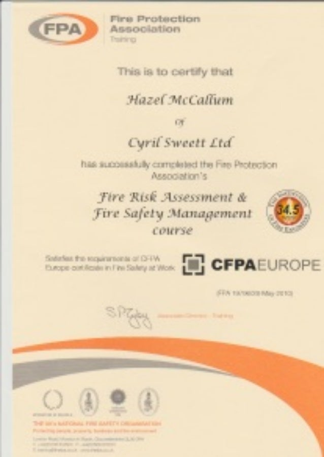 Fpa Fire Safety Risk Assessment And Fire Safety Management